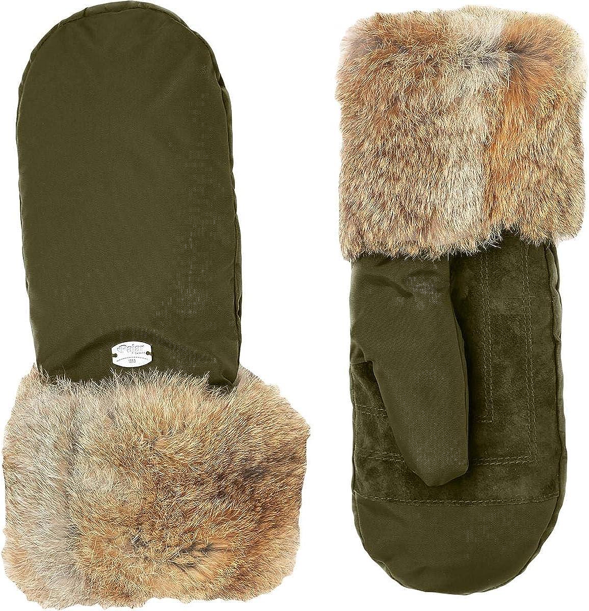 Pajar Reid Women's Rabbit Fur Trim Warm Winter Sueded Mittens (M/L, Military)