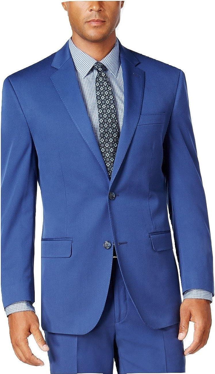 Sean John Modern Fit Blue Solid Notch Lapel New Men's Sport Coat