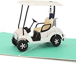 Liif Golf Cart Greeting Pop Up Card for All Occasions, Retirement, Happy Birthday Card, Fathers Day Card, Golf Gifts for M...