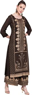 VOOM Women's Long Rayon Foil Printed Straight Fit Kurta And Palazzo Set