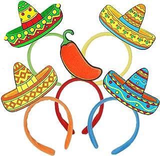 6 PCs Cinco De Mayo Fiesta Sombrero Headbands Party Hat for Fun Fiesta Hat Party Supplies, Luau Event Photo Props, Mexican Decorations for Festivals, Dia De Muertos,Taco Party Favors Men & Women