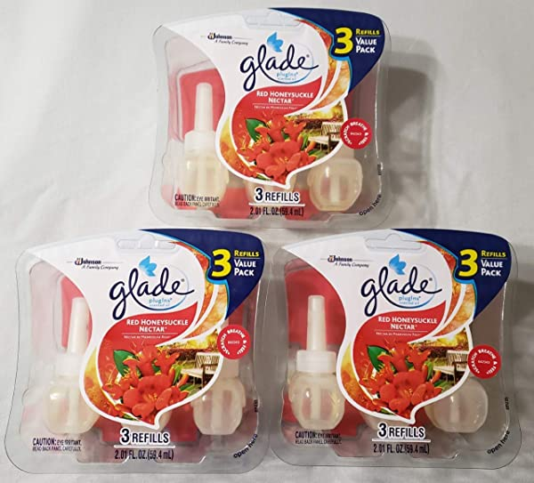 9 Glade Plugins Scented Oil Refill RED HONEYSUCKLE NECTAR NEW In Package HONEY