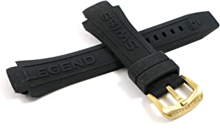 Swiss Legend 28MM Black Silicone Rubber Watch Strap & Gold Stainless Buckle fits 46mm Super Shield Watch