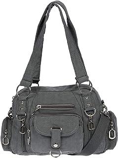 Christian Wippermann Damenhandtasche Schultertasche Tasche Umhängetasche Canvas Shopper Crossover Bag (Dunkelgrau)