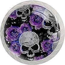 Lade handgrepen trekken ronde kristallen glazen kast knoppen keuken kast handvat,Abstracte bloemen roos suiker schedel