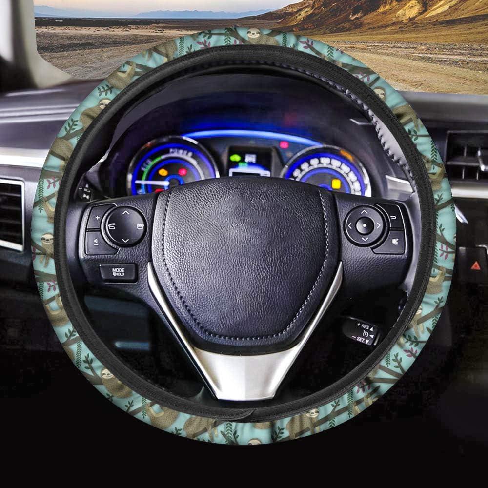 JoyLamoria Cute Sloth Fees free!! Pattern Car Wheel for Max 56% OFF Steering Cover Women