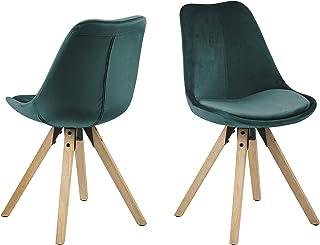 Amazon Brand - Movian Arendsee - Juego de 2 sillas de comedor 55 x 485 x 85cm verde