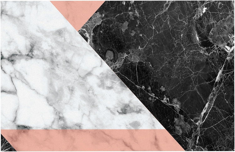 KESS InHouse KESS Original Geo Marble & Coral  Black Art Deco Dog Place Mat, 13  x 18