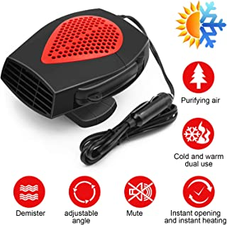Upgrade Bamoer Portable Car Heater 12v Car Fan Defroster Automobile Heater Warmer and Defroster for Snow Removal Winter Auto Electronic Windscreen Heater Fan Defroster Demister (12V Red)