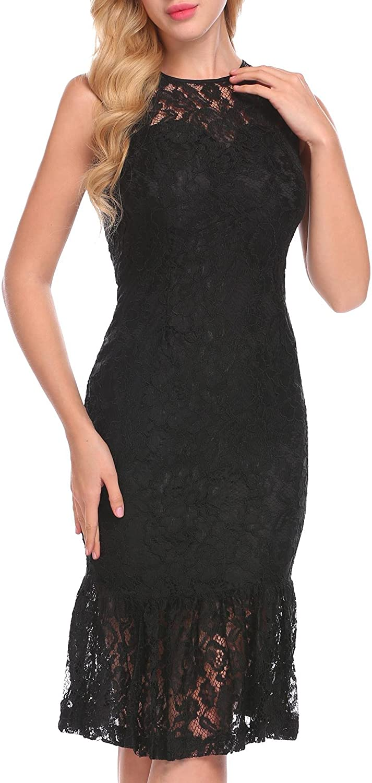 ANGVNS Women's Sweetheart Neck Short Lace Sleeve Split Pleated Hem Long Dress