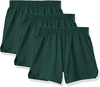 Soffe Girls' Authentic Cheer Short, Dark Green, Medium (3-Pack)