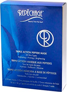 Repechage Triple Action Peptide Mask - For All Skin Types - Hydrating Firming Brightening - 5 Saturated Paper Sheet Masks