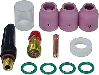 TIG Stubby Gas Lens 17GL332 Pyrex Cup & TIG Gas Lens Alumina Nozzle Kit Fit DB SR WP 17 18 26 TIG Welding Torch 12pcs