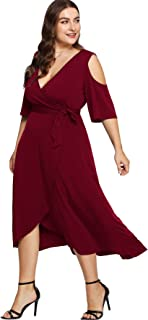 851f995e3a Milumia Plus Size Cold Shoulder Wrap V Neck Empire Waist High Low Summer  Short Sleeves Party
