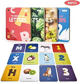 beiens Baby Flash Cards, 48 Pcs Double-Sided ABC 123 Flashcards with Rings Educational Learning Toys for Infants Toddlers Birthday Preschool Gifts Age 1-4 Year (Alphabet, Numbers, Animals, Fruit)