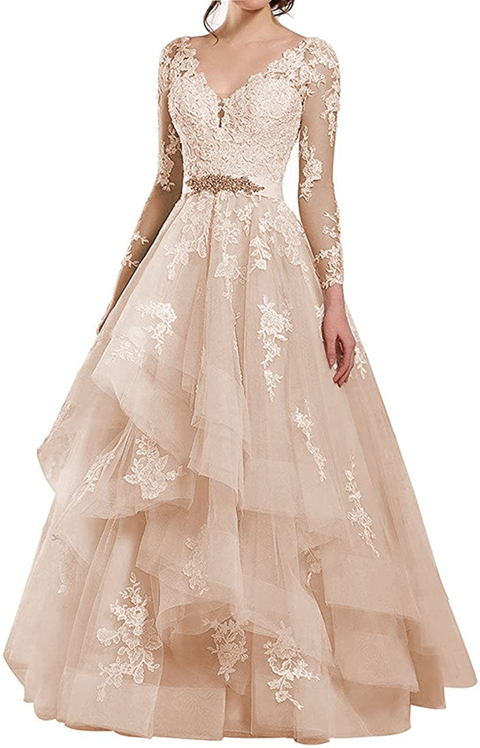 Cdress Sheer Long Sleeves Lace  Wedding Dresses VNeck Beaded Sashes Bridal Gowns