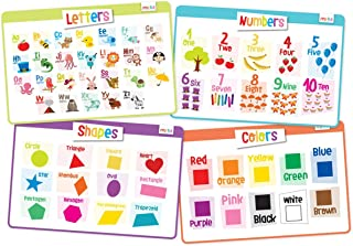 merka Educational Placemats for Kids - Toddler Set - Bundle of 4 Mats - Letters, Numbers, Shapes and Colors - Non Slip, Washable and Reusable - Toddlers Will Learn The Alphabet, Count to 10 and More