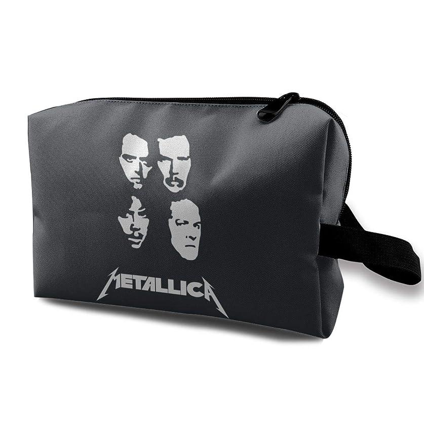 贅沢補うたるみ化粧ポーチ コスメケース 小物入れ 化粧品収納 高品質 大容量 旅行 出張 日常使い 軽い 使い便利 収納ポーチ 運動 贈り物 Metallica ロゴとメンバー