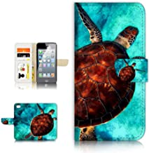 (for iPhone 8 Plus/iPhone 7 Plus) Flip Wallet Case Cover & Screen Protector Bundle - A21665 Turtle in Sea