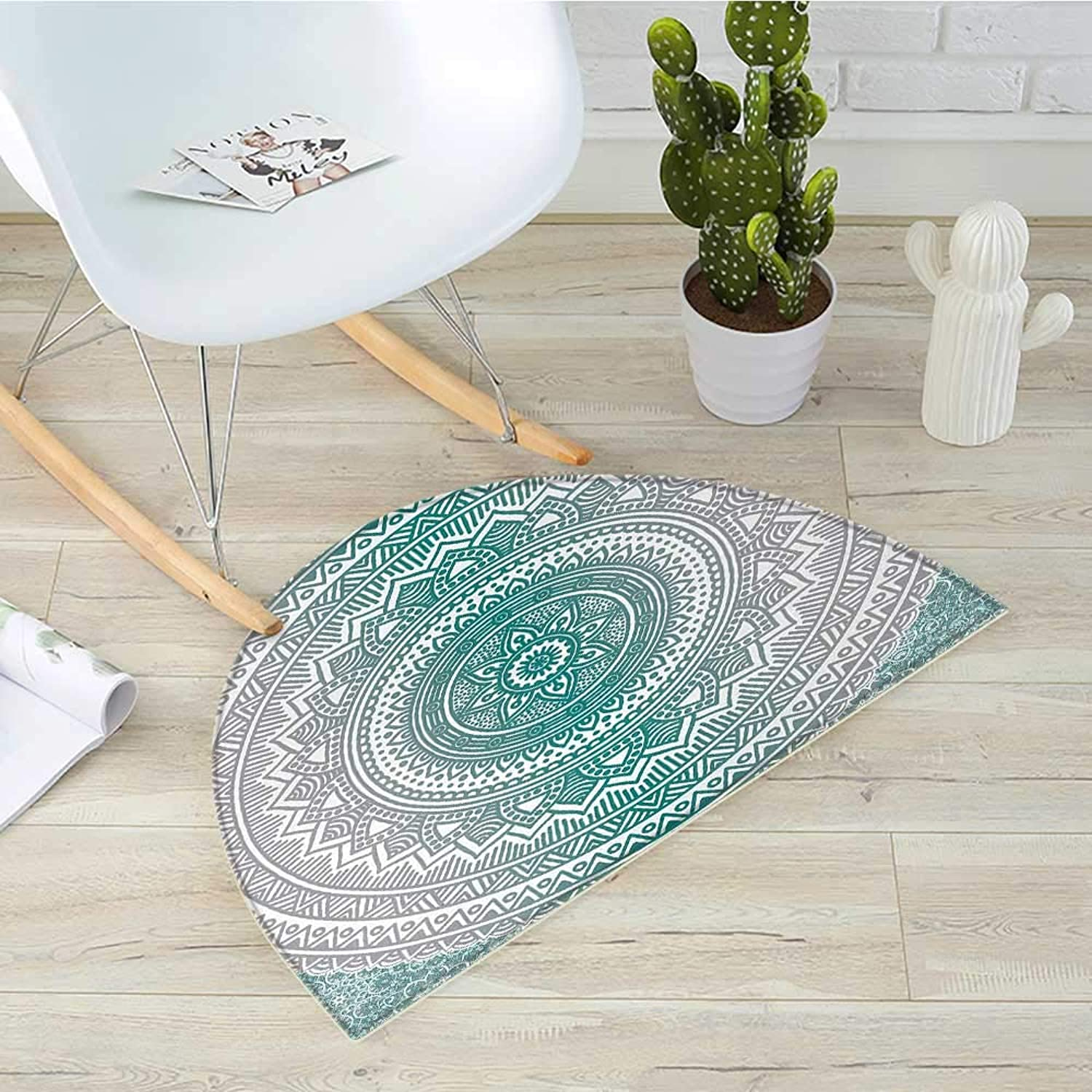 Grey and Teal Semicircle Doormat Mandala Ombre Design Sacred Space Geometric Center Point Boho Meditation Art Halfmoon doormats H 39.3  xD 59  Grey Teal