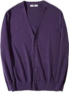 Mogogo Men's Solid Color V Neck Button Knitwear Trim-Fit Jacket Cardigans