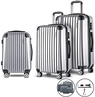 Wanderlite 20'' 28'' Hard Shell Suitcase Small and Large Lightweight Roller Luggage Case, Silver