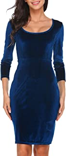 Women's Velvet 3/4 Sleeve Bodycon Pencil Vintage Dress