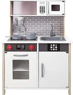 WOOMAX - Cocina juguete, Cocinita con Luz y Sonidos, Cocina juguete madera, Cocinita con Accesorios, Utensilios cocina jug...