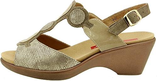 PieSanto Chaussure Femme Confort en Cuir 8857 Sandale Semelle Amovible Confortables Amples
