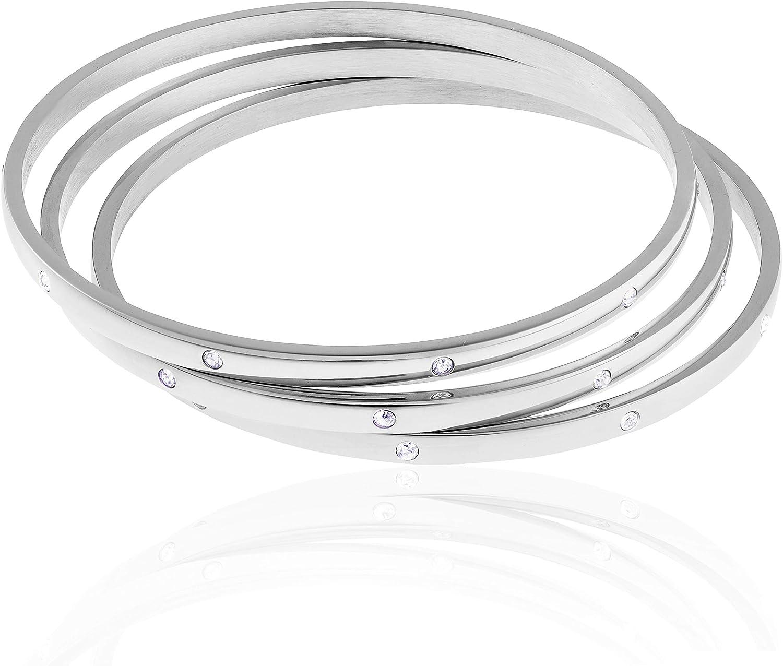 Edforce Stainless Steel Women's Stackable Set of 3 CZ Cubic Zirconia Bangles Bracelets