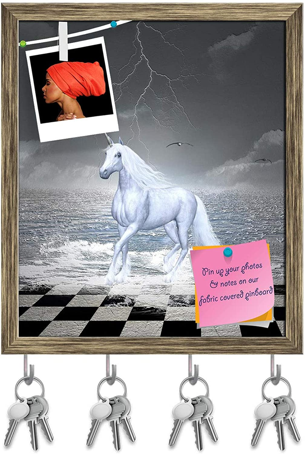 Artzfolio Horse Gallops in A Surreal Seascape Key Holder Hooks   Notice Pin Board   Antique golden Frame 16 X 18.7Inch