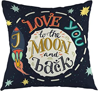 oFloral I Love You to The Moon and Back Romantic Quote Throw Pillow Cover Square Cushion Case Home Decorative for Sofa Couch Car Bedroom Living Room Decor 18