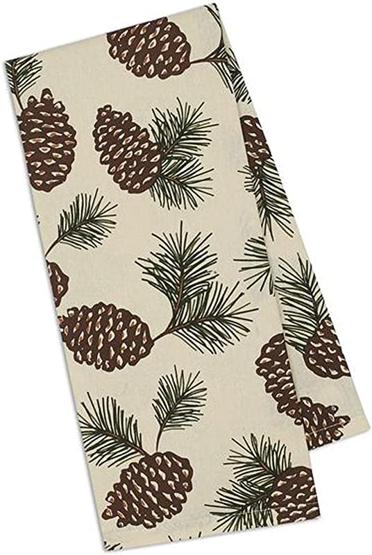 Design Imports Mountain Pine Cotton Table Linens Dishtowel 18 Inch By 28 Inch Pinecone Print