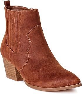 Women Western Ankle Zip Boots (Brown