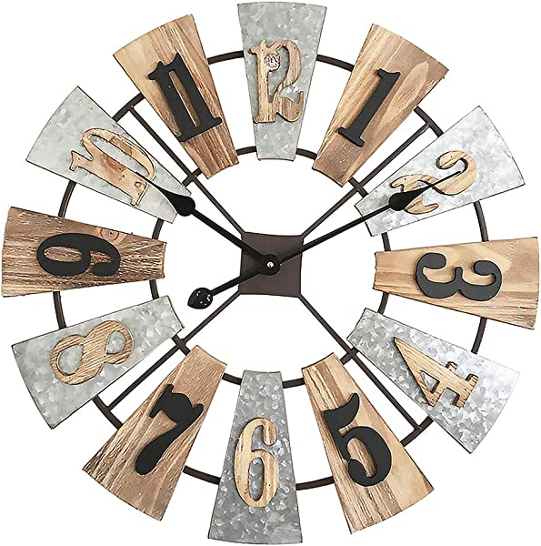 MODE HOME 24 Metal And Wood Windmill Wall Clocks Decorative 3D Vintage Clock Farmhouse Decor