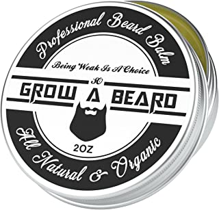 Beard Balm 2oz, Leave-in Conditioner & Softener for Men Care, Best Facial Hair & Mustache Grooming Wax, Great for Smooth & Moisturize, Natural & Organic, Sandalwood Scent with Argan & Jojoba Oils