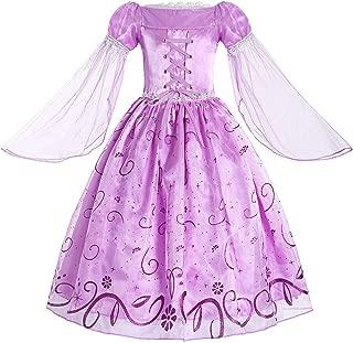 Little Girls Rapunzel Costume Mesh Sleeve Princess Fancy Dress