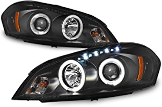 For Chevy Impala Monte Carlo Black Bezel Halo Ring Projector Replacement Headlights Left/Right Lamps