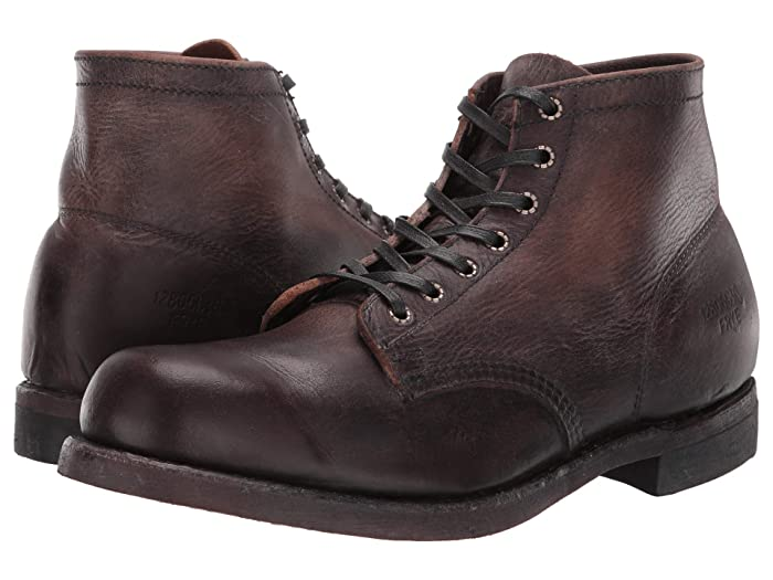 1930s Men's Shoe Styles, Art Deco Era Footwear Frye Prison Boot Dark Brown Stonewash Pull-Up Mens Lace-up Boots $377.95 AT vintagedancer.com
