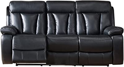 Coja by Sofa4life Leather Power Sofa Recliner, Black