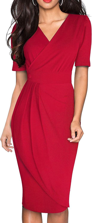 HOMEYEE Women's Retro V Neck Party Business Wrap Dress B583
