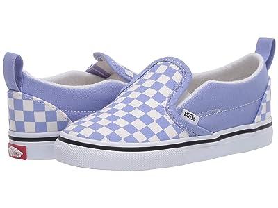 Vans Kids Slip-On V (Infant/Toddler) ((Checkerboard) Pale Iris/True White) Girls Shoes