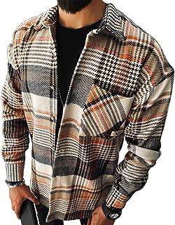 Shownicer Hombre Camisas Casual Camisa de Franela Ajuste Regular Manga Larga Camisas a Cuadros Camisa de Leñador Button Do...