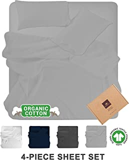 Tissaj Queen Size Bed Sheets Set - Cloud Gray Color - 100% GOTS Certified Organic Cotton - 300 Thread Count - 4 Piece Bedding - 2 Pillow Cases, Flat Sheet & Fitted Sheet with 16 Inch Deep Pocket