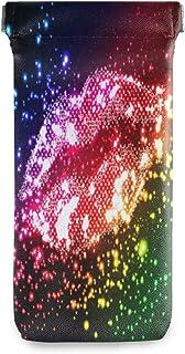 Rosa BIGJOKE Brillenetui aus Mikrofaser-Leder mit Rosenmuster