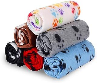 Manta para mascotas de RionnTM para perro y gato, 80 x 120 cm, manta suave con diseño de pezuñas, manta polar de invierno para gatos y otras mascotas