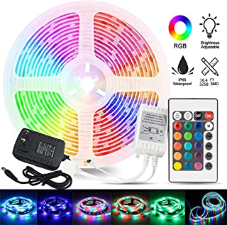 MEIJUBOL LED Strip Light Kit Waterproof SMD 3528 16.4 FT (5M) 300leds RGBRope Lights with DC12V UL Power Supply and 24 Keys IR Remote Controller for Home Room Counter Party Decoration
