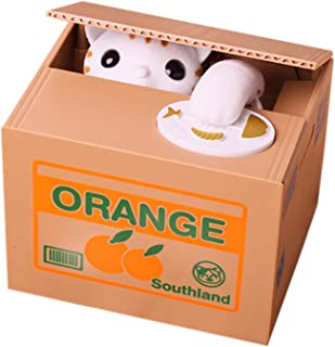 Flyfish@ MoneySavingToy Cat Style Coin Money Box Piggy Bank Collecting Saving Money Bank Color White