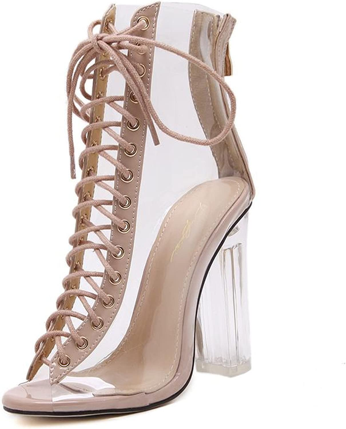 Jeff Tribble Sexy PVC Transparent Sandals Cross Strap Peep Toe shoes Clear Chunky Heels Women Ankle Boots
