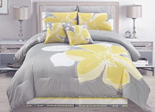Yellow Grey White Floral Bed-in-a-Bag King Size Bedding + Sheets + Accent Pillows Comforter Set
